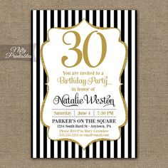 Hey, I found this really awesome Etsy listing at https://www.etsy.com/listing/189691186/30th-birthday-invitations-black-gold