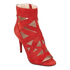 """$119 As seen in the Winter 2015 issue of Seventeen Prom..... Dramatic, intricate cutouts create a striking pair of caged booties with an ankle cuff and slender heels. Back zip for easy on/off. Padded footbed for all-day comfort. Suede upper. Man-made lining and sole. Imported. 3 3/4"""" high heels."""