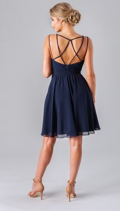 Unique backs are all the rage right now! Kennedy Blue Luella is an affordable short bridesmaid dress made of a beautiful luxe chiffon fabric.