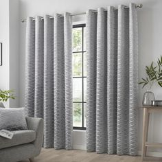 Introducing the Kendal Range of ready made eyelet curtains. These stylish curtains have a flock geometric pattern across the whole curtain. These fully lined drapes have a composition of 100% polyester. Product Includes A pair of curtains in your selected size Cushions are available separately Cushions come complete with filling pad Care Instructions Do not home wash Do not bleach Cool iron Do not tumble dry Dry clean only Silver Curtains, Wide Curtains, Hanging Curtains, Panel Curtains, Ready Made Eyelet Curtains, Made To Measure Blinds, Window Types, Room Darkening Curtains, Grey