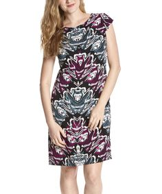 Look what I found on #zulily! Black & Purple Abstract Cap-Sleeve Dress by Voir Voir #zulilyfinds
