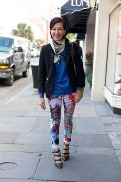 Cynthia Rowley. charleston fashion week, charleston street style, southern street style, black blazers, floral pants, black strap heels, angels point of view, scott whoman