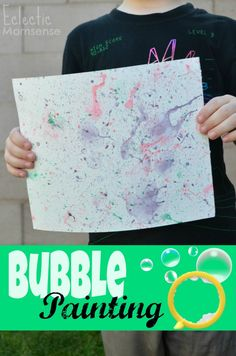 Bubble Painting with Homemade Colored Bubbles - Eclectic Momsense