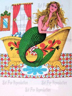MERMAIDS s396 Vintage Retro French Mermaid Book by wwwvintagemermaidcom, $3.00