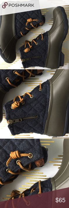 🎆 4 July SALE sperry saltwater duck boots • 7 Price Firm. Brand new in box. Sperry saltwater quilt wool duck boots size 7. Tan/Navy Sperry Top-Sider Shoes Winter & Rain Boots