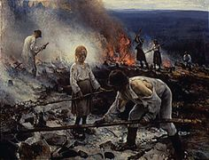 Eero Järnefelt, Kaski/Raatajat rahanalaiset (Burning the Brushwood/Under the Yoke), oil on canvas Ateneum Art Museum, Helsinki, Finland. National romantic art but considered realism art by public. Inspirational Artwork, History Of Finland, Helene Schjerfbeck, Chur, Claude Monet, Helsinki, Art Google, Fine Art Paper, Van Gogh