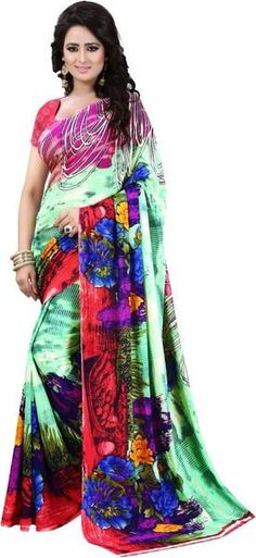 LadyIndia.com #Printed Sarees, Gorgeous Multicolor Georgette Saree For Women -Sari, Printed Sarees, Casual Saris, Silk Saree, https://ladyindia.com/collections/ethnic-wear/products/gorgeous-multicolor-georgette-saree-for-women-sari