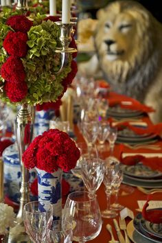 Party Decor, Interior Design, Tablescape, Red and Blue, Blue China, Lion, Camel, Flowers decor, Bohemian Colonial Ball, by Isabel Pires de Lima