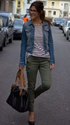 Comfy and soft liverpool jean jacket, striped long sleeved t-shirt and army green pants. Perfect for Fall 2016. Stitch Fix.
