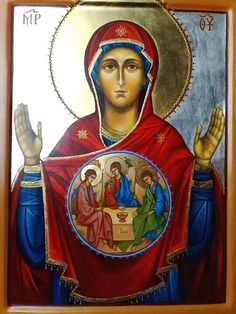 Virgin Mary and The Holy Trinity Religious Icons, Religious Art, Church Icon, Queen Of Heaven, Mary And Jesus, Madonna And Child, Virgin Mary, Prayer Cards, Orthodox Icons