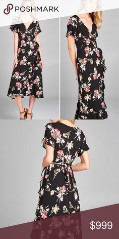 878bd745d51 S-L Stunning black coral floral wrap dress Stunning black with coral floral  pattern wrap