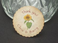 Mini round Sunflower tags   set of 60 by Just by JustScrapsNThings, $20.40
