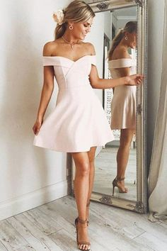 off the shoulder simple pink satin homecoming dress, pink satin ruched short prom dress Mini Prom Dresses, Hoco Dresses, Satin Dresses, Cheap Dresses, Sexy Dresses, Evening Dresses, Dress Prom, Spring Formal Dresses, Graduation Dresses