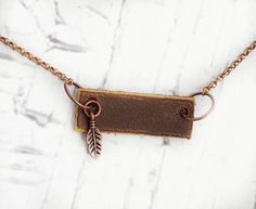 Leather Bar Necklace Essential Oil Diffuser Short Necklace