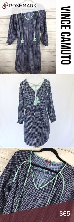 """Vince Camuto Downtown Oasis Blue Print Dress 10 Beautiful dress. Tassel tie, cinch waist. Lined. New with Tags. Approximate measurements lying flat: Chest: 21"""" Waist: 15"""" Length 38"""" BC Vince Camuto Dresses"""
