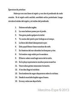 Resultado de imagen de sujeto y predicado en español tercer gado