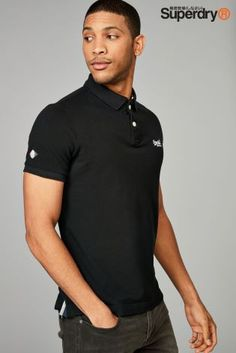 This Superdry Basic Logo Polo in black features short sleeves and a two button placket. The comfortable style is finished with the logo detailing on the front. To ensure the best fit, it is recommended to order one size up from usual in Superdry. Next Uk, Comfortable Fashion, Superdry, Uk Online, Short Sleeves, Polo, Cotton, Mens Tops, Xmas