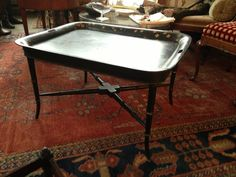 Unique Tole Tray Table with Custom Made Vintage Stand Victorian 19th Century  #Victorian