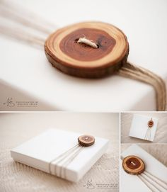 Love this simple and natural yet sophisticated packaging, just a wooden button to decorate.