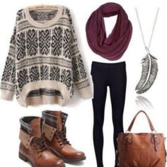 Comfy outfit. Sweater, leggings scarf, feather necklace and boots.