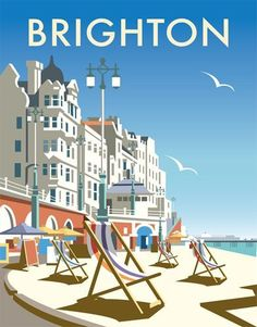 "my-world-of-colour: "" England - Brighton Vintage travel poster Saved from davethompsonillustration.com """