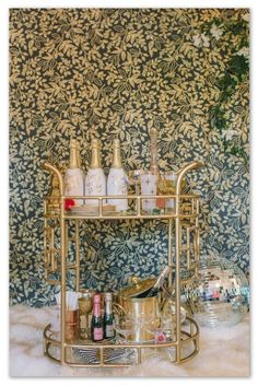 Bar cart with Queen Anne Wallpaper from Hygge & West - Patternsnap blog 'Queen Kate's House Tour' involving patternsnap's fake peek into Kate Moss's home.