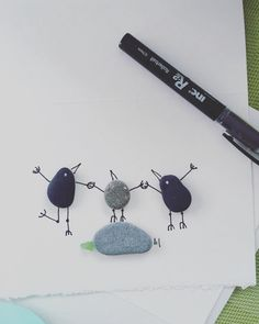#family #pebbleart #pebblebirds #beachrocks #vanisland #jumpiwillcatchyou #fly #holdinghands #buylocalart #sidneybeaches #seaglass