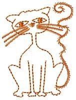 Halloween Cat Redwork - 4x4 | Primitive | Machine Embroidery Designs | SWAKembroidery.com HeartStrings Embroidery