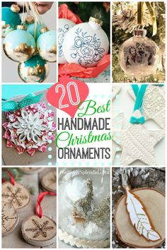 A collection of 20 DIY Christmas ornaments, featuring handmade ornament ideas that are easy and fun to make with step-by-step tutorials!