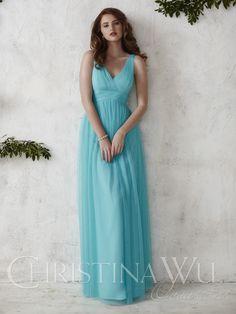 Christina Wu 22688 Tulle V-Neck Surplice Waist Empire Silhouette Dress $263.99 Christina Wu Occasions
