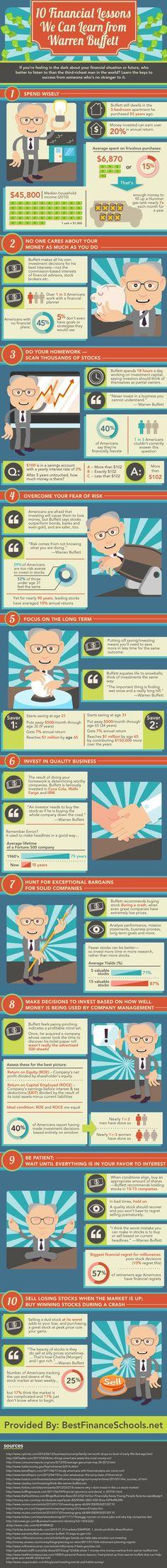 10 Financial Lessons From Warren Buffet money business stock life tips infographic wealth finance infograph savings infographics money tips budget warren buffet stocks