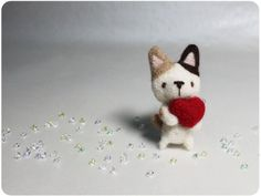 Pudding Cat  needle felted wool brooch crystal bead by KaffeeKatze, $23.00