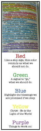 Where was this when I bought my new scriptures???????? One simple method on color coding scriptures:
