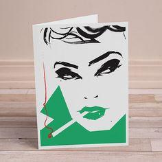 5x7 Blank Greeting Card Vintage Mod Girl Fashion Art Green