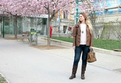 {Outfit} Brown leather jacket in cherry blossom field Crochet Braids Marley Hair, Reverse Ombre, Best Leather Jackets, Wax Hair Removal, Indian Bridal Hairstyles, Neue Outfits, Blonde Ombre, Protective Styles, Cherry Blossom