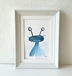 Watercolor painting blue bug cute little beetle original