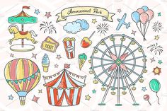 Hand drawn Amusement Park Illustrations and Patterns for your design :) --- All elements are available in vector (you can resize and recolor it) and in Chalk Drawings, Love Drawings, Easy Drawings, Bullet Journal Ideas Pages, Bullet Journal Inspiration, Floral Illustrations, Graphic Illustration, Theme Carnaval, Park Art