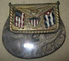 1898 Spanish-American War Coin Purse w/Flags & Eagle