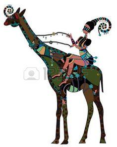 Ethno-Stil - Frau auf dem Rücken einer Giraffe