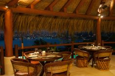 Solana by night with a view to the lights of Zihuatanejo, Mexico