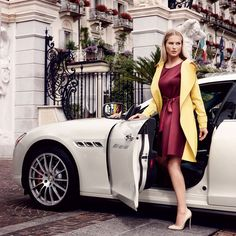 """Fashion's """"It Girl"""" meets Maserati with… Maserati Quattroporte, Slim Aarons, Become A Millionaire, Elegant Woman, Hot Cars, Role Models, Fashion Models, Wrap Dress, Bodycon Dress"""