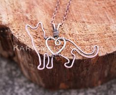 Cat Necklace, Kitten, Copper, Pet Jewelry, Sterling Silver, Wire Jewelry - sweet