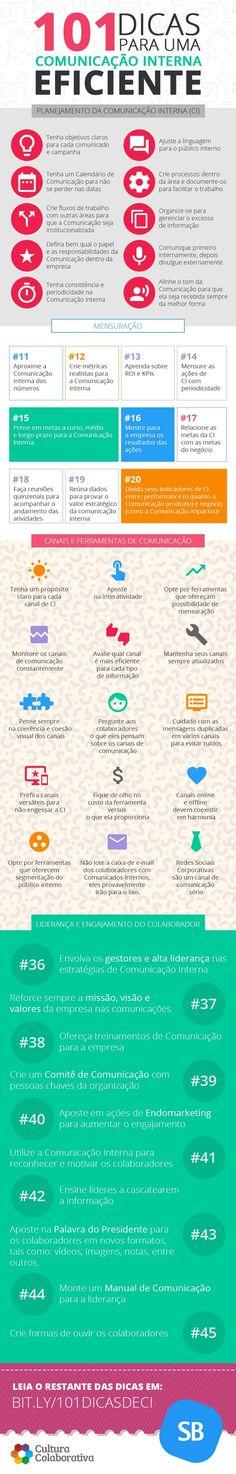 101 dicas para uma comunicação interna eficiente infográfico