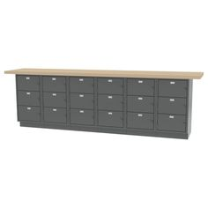"""WALL WORKBENCH - All welded construction. Overall size - 120""""l x 24""""d x 36.75""""h - 18 (16""""W) Opening Padlocking LockerBase."""