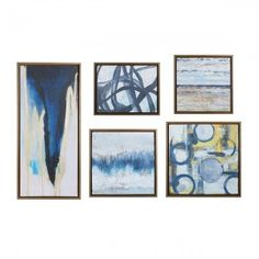 """Turn your wall into a contemporary art gallery with Madison Park's """"Blue Bliss Gallery"""" Canvas Wall Art Set, featuring 5 different abstract artworks. Each canvas is mounted on a box and finished with a grey frame. Wall Art Sets, Framed Wall Art, Wall Art Decor, Wall Décor, Artwork Wall, Blue Abstract, Abstract Canvas, Abstract Paintings, Canvas Frame"""