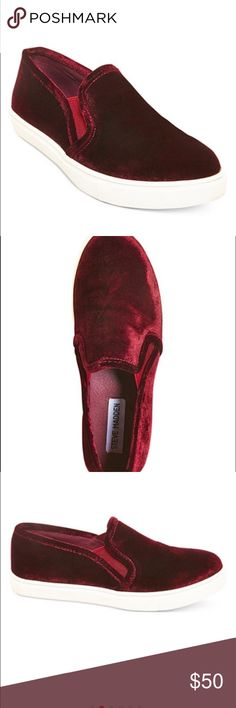 """Steve Madden Ecentric-Q Platform Sneaker From Steve Madden, the Ecntrcv sneakers feature:  Burgundy velvet upper slip-on styling twill lining rubber outsole 1"""" platform They run narrow and I'm normally a size 9 and needed to up my size to a 10 in these specific shoes. They are super cute tho! Just don't wear them enough. Only worn twice! Steve Madden Shoes Sneakers"""