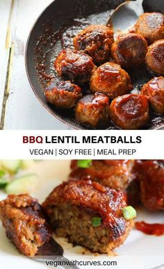 BBQ Lentil Meatballs is made with simple plant-based ingredients of lentils, rice, mushrooms, and BBQ sauce. It's a vegan protein packed dish! These lentil meatballs can Vegan Meal Plans, Vegan Meal Prep, Vegan Dinner Recipes, Whole Food Recipes, Vegan Soul Food Recipes, Plant Based Dinner Recipes, Vegan Lentil Recipes, Vegan Recipes Plant Based, Vegan Recipes No Soy