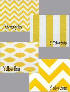 Modern Yellow chevron, canopy stripe, and ikat  Drapes with lining Lined by ADC Home