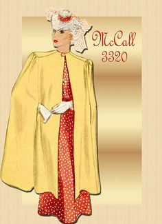Vintage McCall 3320 1930s Cape Pattern