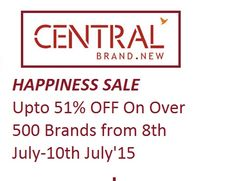 """""""HAPPINESS SALE Upto 51% OFF On Over 500 Brands from 8th July-10th July'15 """""""
